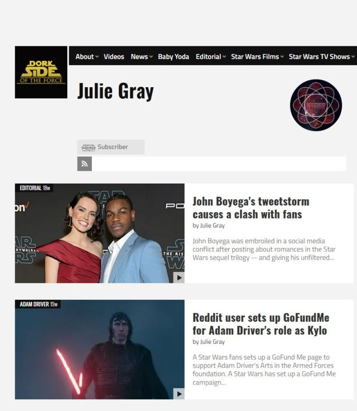 My Contributor Profile on Dork Side of the Force